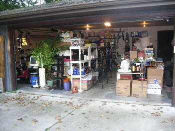 cluttered garage before