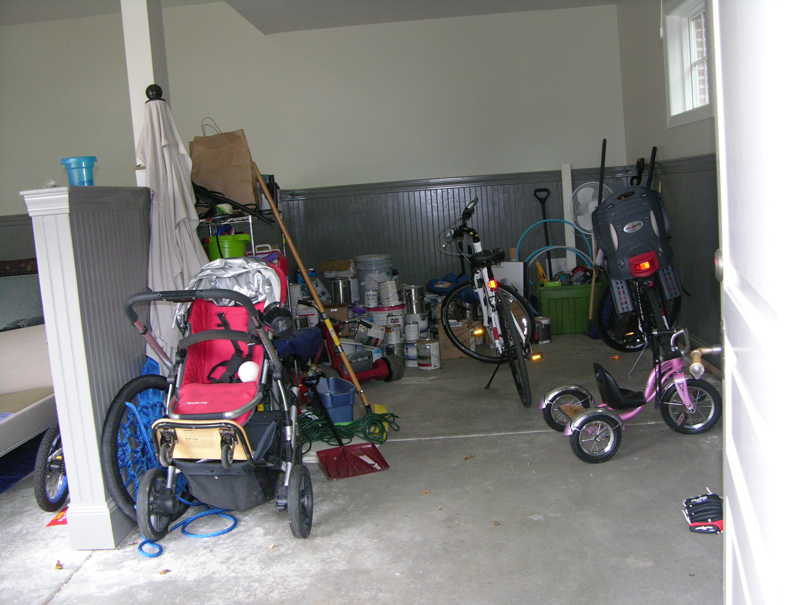 Cluttered Garage Before Purple Durple Organizers