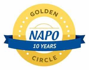 NAPO Golden Circle Member 10 Years - The 10 year Golden Circle logo represents this member as having 10 years or more as a member in good standing of the National Association of Professional Organizers (NAPO) with accomplished experience in the organizing and productivity profession